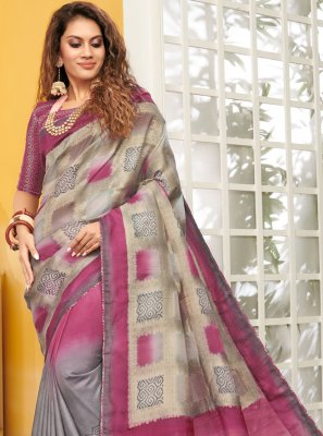 Designer Saree Weaving Viscose in Grey and Pink