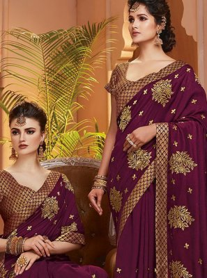 Designer Saree Zari Art Silk in Purple