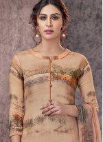 Designer Straight Salwar Kameez Printed Pashmina in Beige