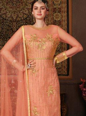 Designer Straight Salwar Kameez Resham Net in Orange
