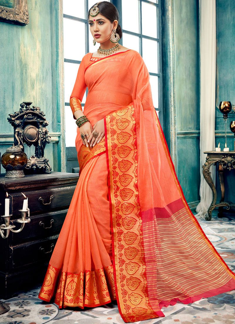 Designer Traditional Saree Border Cotton in Orange