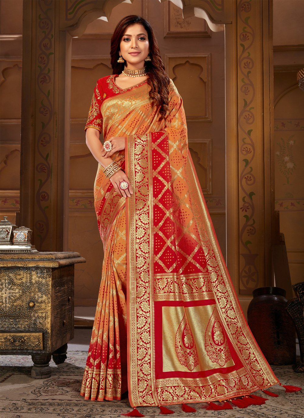 Designer Traditional Saree Embroidered Jacquard Silk in Orange and Red