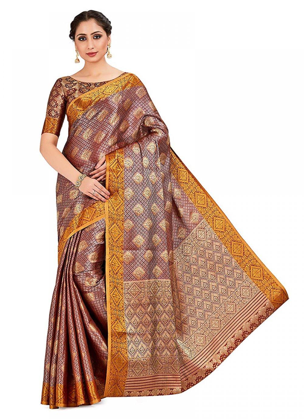 Designer Traditional Saree Printed Art Silk in Multi Colour