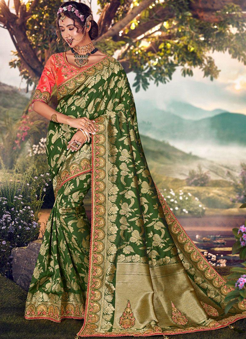 Designer Traditional Saree Weaving Art Banarasi Silk in Green