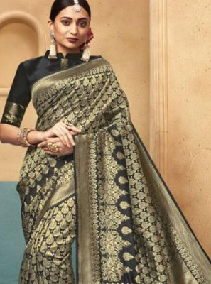 Designer Traditional Saree Weaving Art Silk in Black