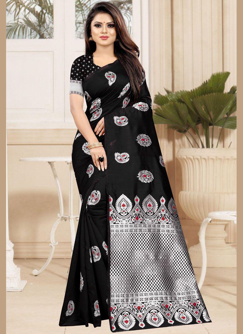Designer Traditional Saree Weaving Art Silk in Black
