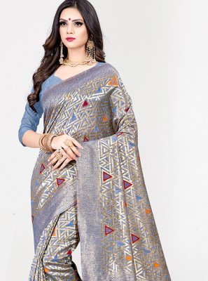 Designer Traditional Saree Weaving Art Silk in Blue