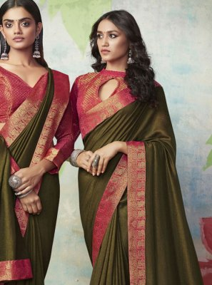 Designer Traditional Saree Weaving Art Silk in Green