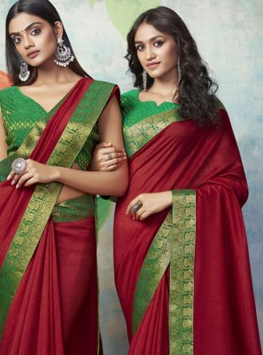 Designer Traditional Saree Weaving Art Silk in Maroon