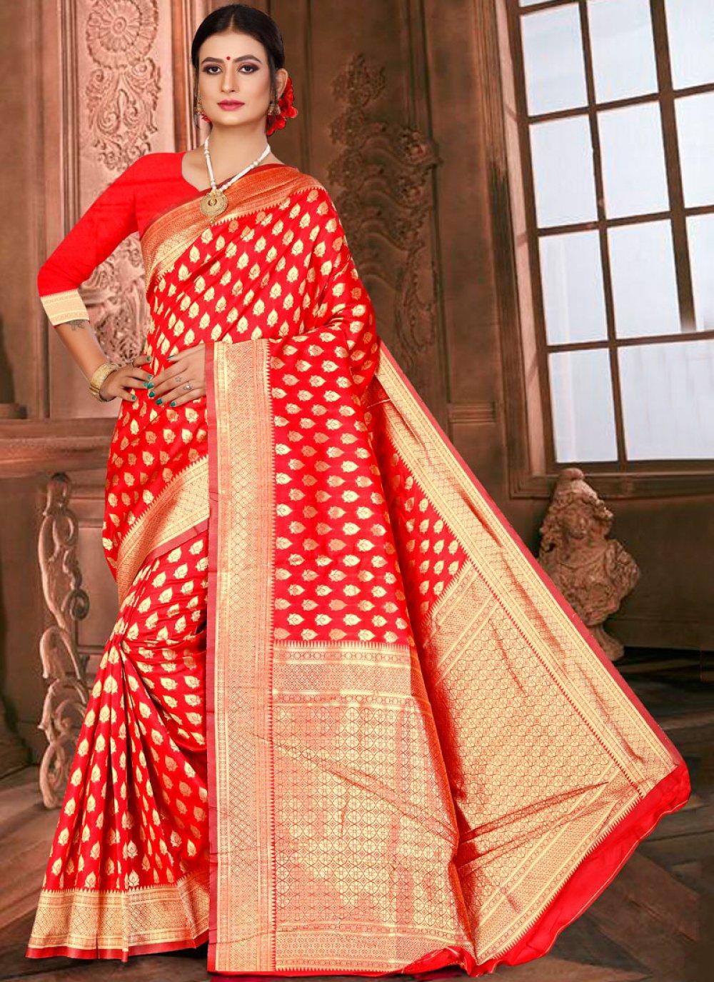 Designer Traditional Saree Weaving Art Silk in Red