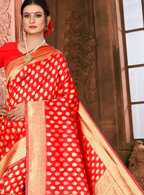 Designer Traditional Saree Weaving Art Silk in Red