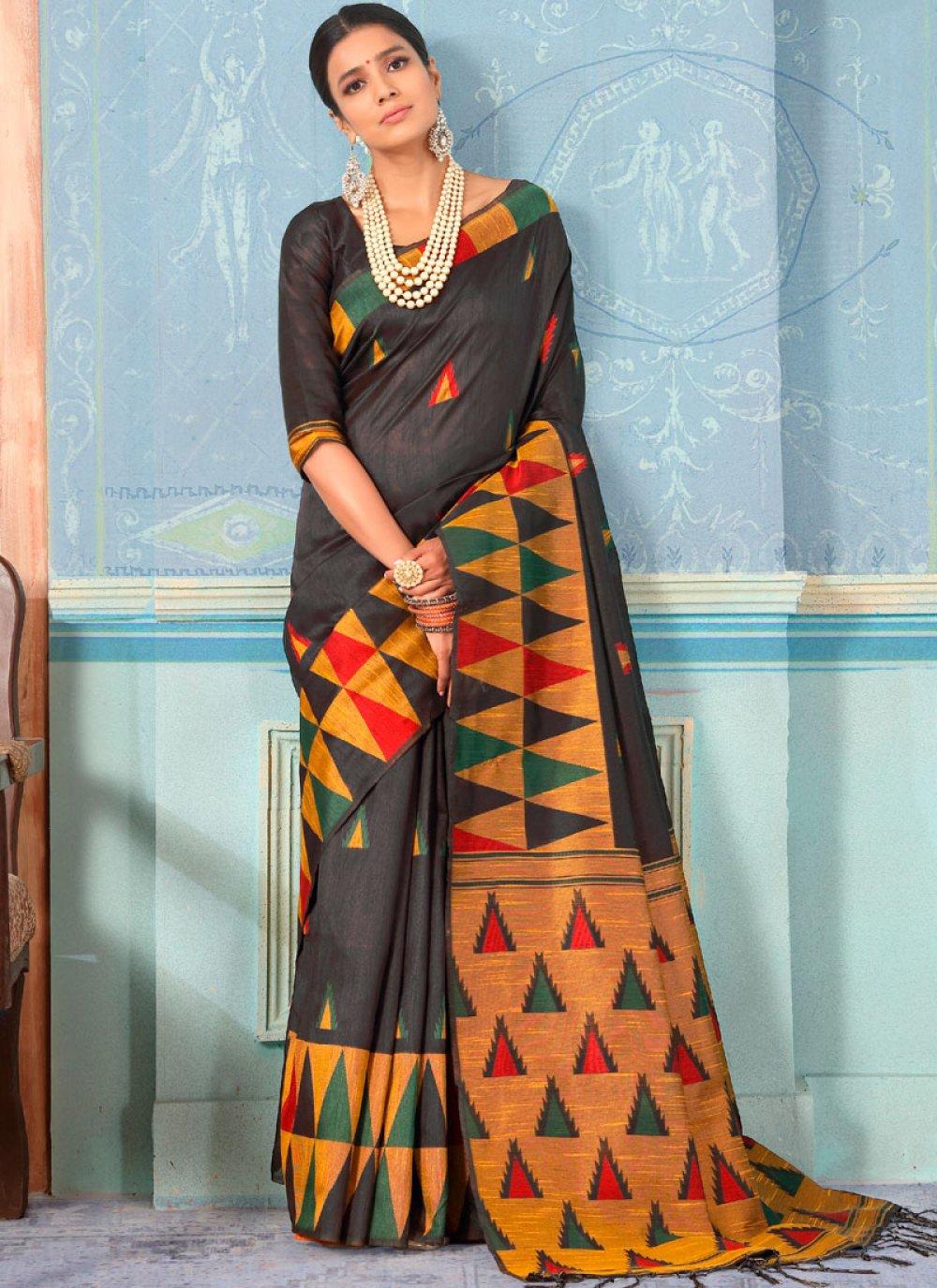 Designer Traditional Saree Weaving Bhagalpuri Silk in Black