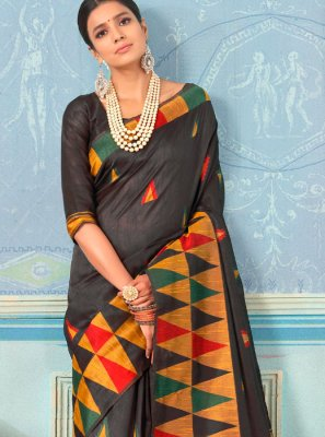 Designer Traditional Saree Weaving Bhagalpuri Silk in Black