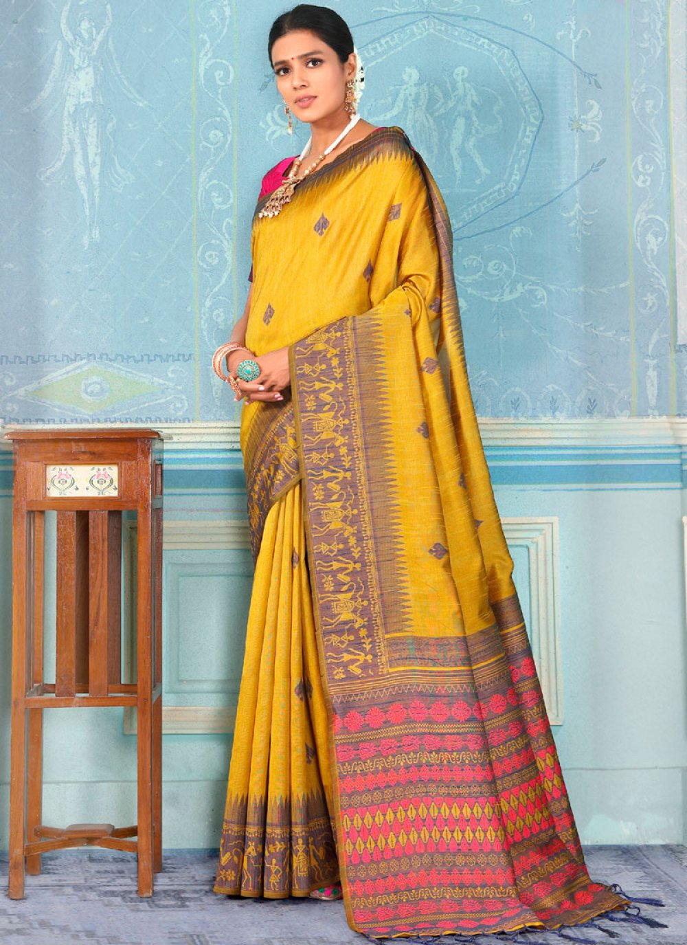 Designer Traditional Saree Weaving Bhagalpuri Silk in Yellow