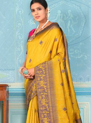 Designer Traditional Saree Weaving Bhagalpuri Silk in Yellow