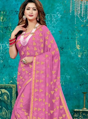 Designer Traditional Saree Weaving Crepe Silk in Pink