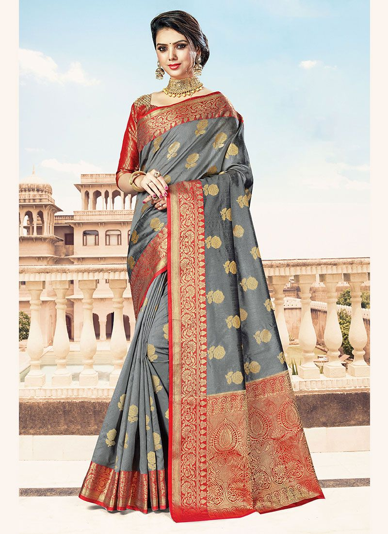 Designer Traditional Saree Weaving Handloom Cotton in Grey