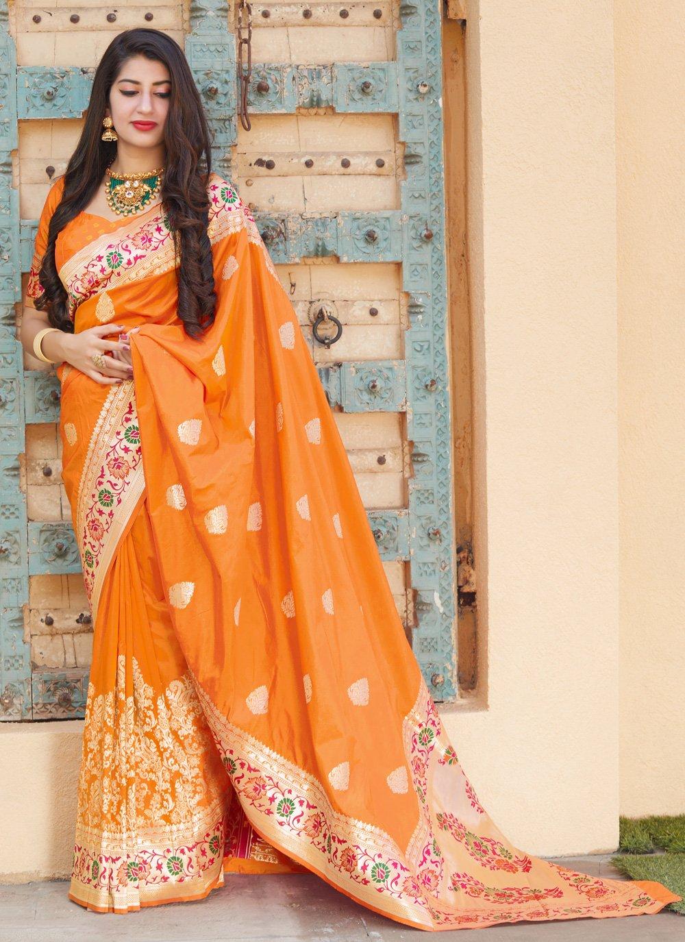 Designer Traditional Saree Weaving Silk in Orange