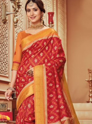 Designer Traditional Saree Woven Art Silk in Red