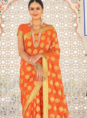 Designer Traditional Saree Zari Faux Chiffon in Orange