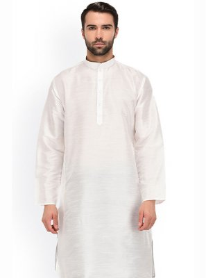 Dhoti Kurta Plain Art Banarasi Silk in White