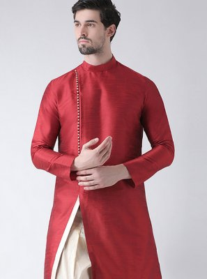 Dhoti Kurta Plain Art Dupion Silk in Red