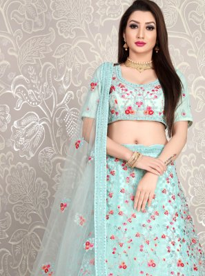 Diamond Faux Crepe Designer Lehenga Choli in Aqua Blue