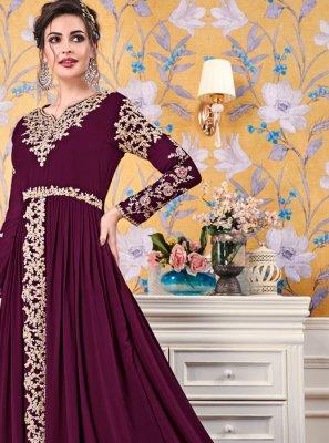 Diamond Faux Georgette Floor Length Trendy Gown in Magenta