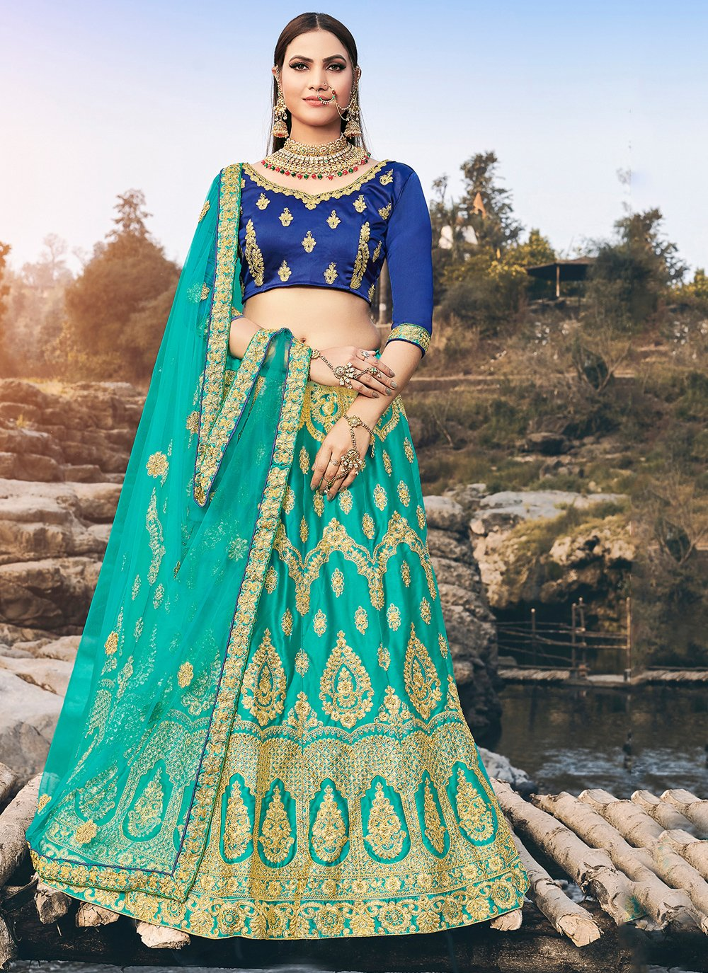 Diamond Green Silk Designer Lehenga Choli