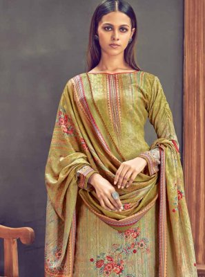 Diamond Pashmina Pakistani Salwar Suit in Multi Colour