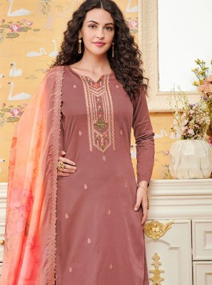 Diamond Pink Cotton Palazzo Salwar Suit