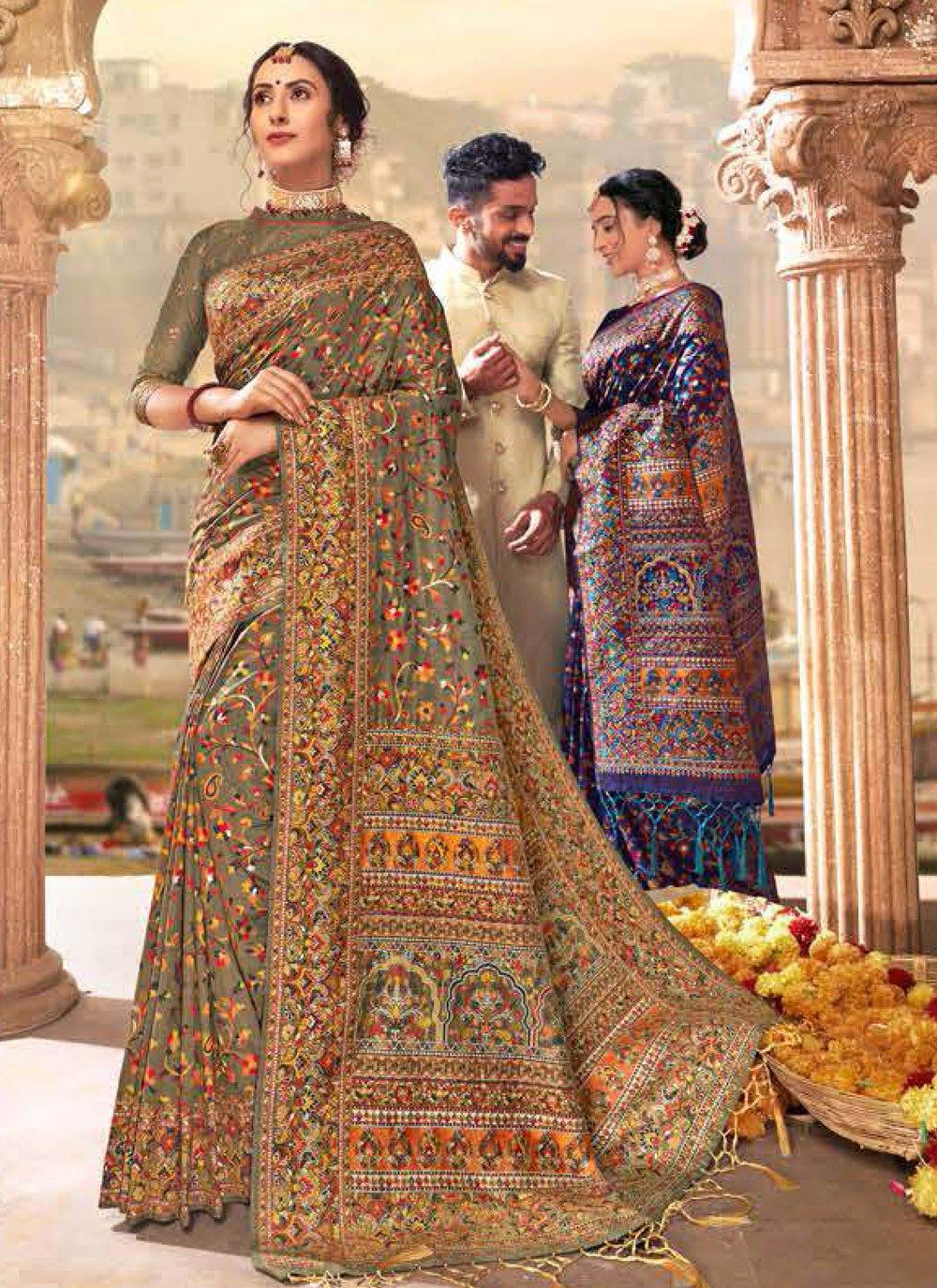 Different Style Saree Digital Print Banarasi Silk in Brown