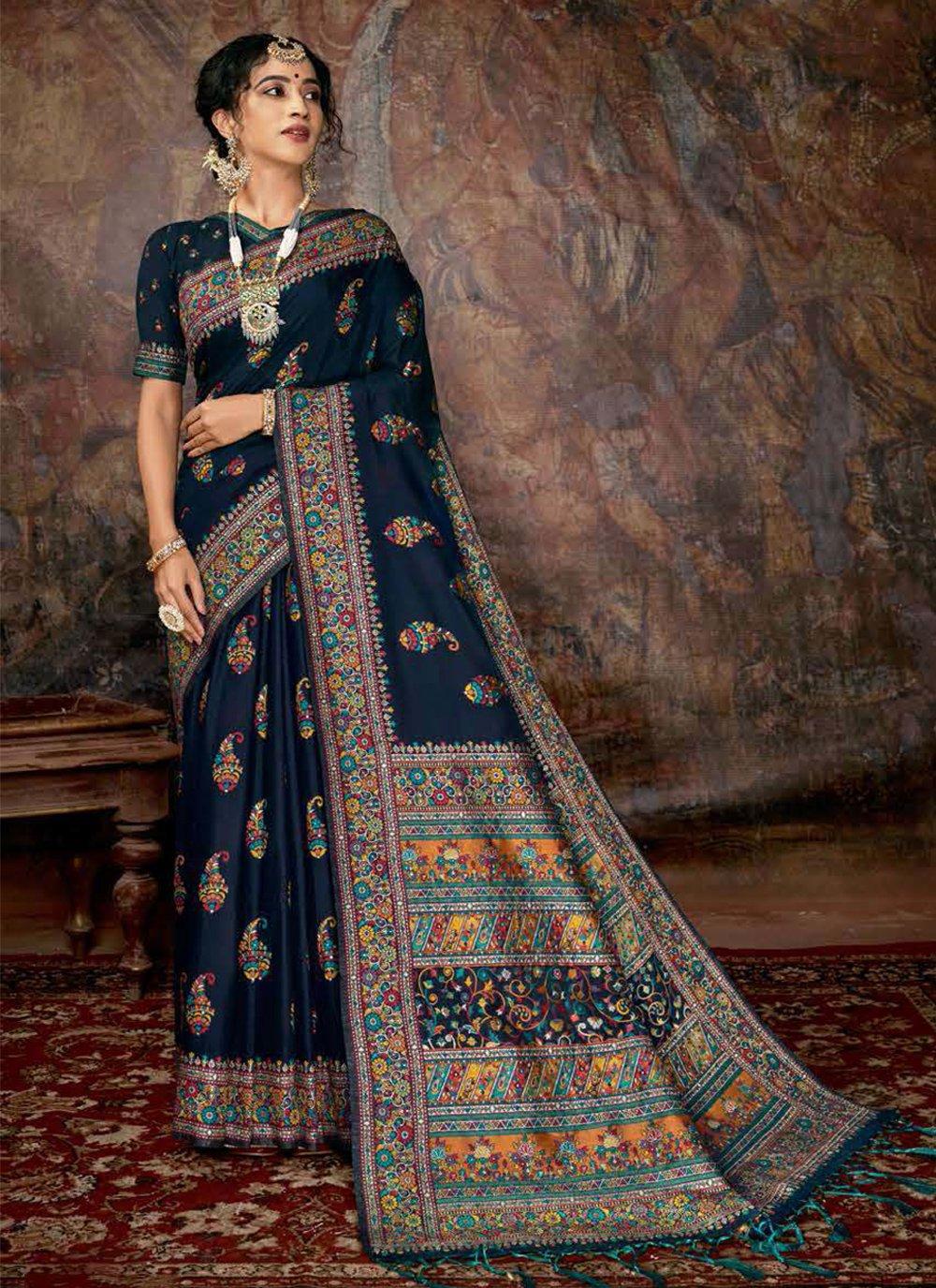 Digital Print Banarasi Silk Black Silk Saree