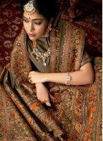 Digital Print Banarasi Silk Contemporary Style Saree in Green