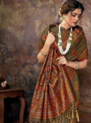 Digital Print Banarasi Silk Designer Saree in Green