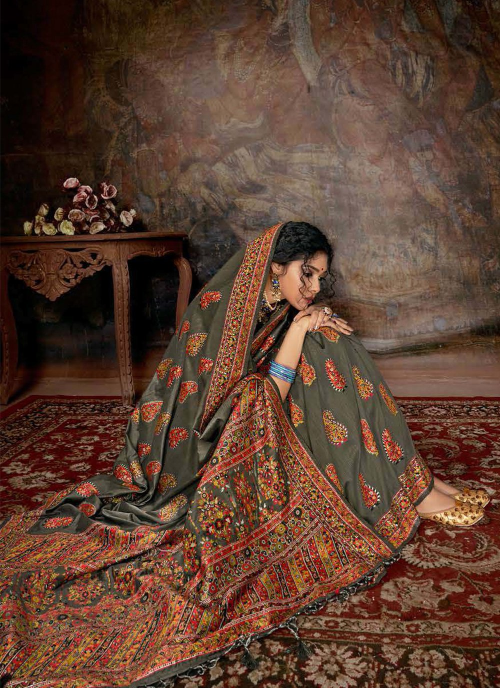 Digital Print Banarasi Silk Multi Colour Contemporary Saree