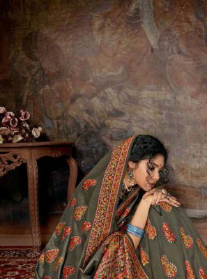Digital Print Banarasi Silk Multi Colour Contemporary Saree