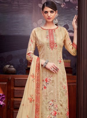 Digital Print Beige Cotton Trendy Palazzo Suit