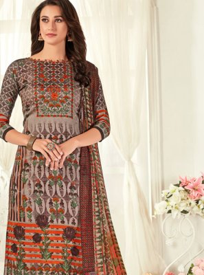 Digital Print Cotton Grey Palazzo Salwar Suit
