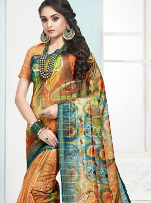 Digital Print Cotton Orange Designer Traditional Saree