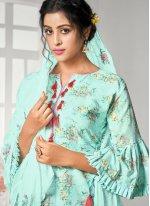 Digital Print Cotton Palazzo Designer Salwar Suit in Blue