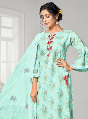 Digital Print Cotton Palazzo Designer Salwar Suit in Blue