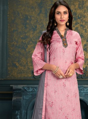 Digital Print Cotton Punjabi Suit in Pink