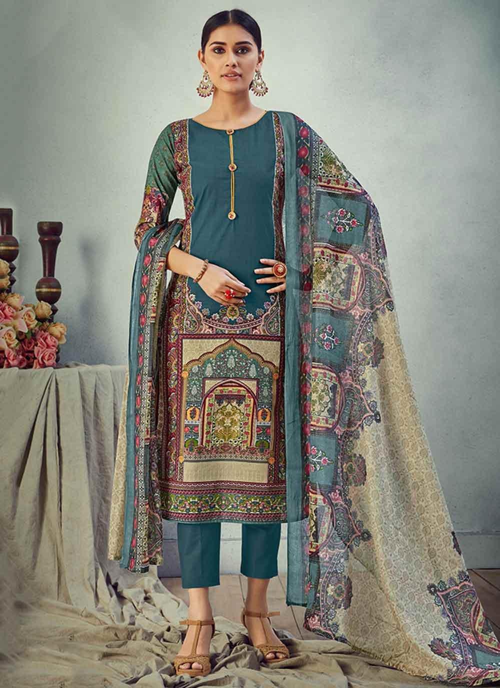 Digital Print Cotton Salwar Suit in Multi Colour