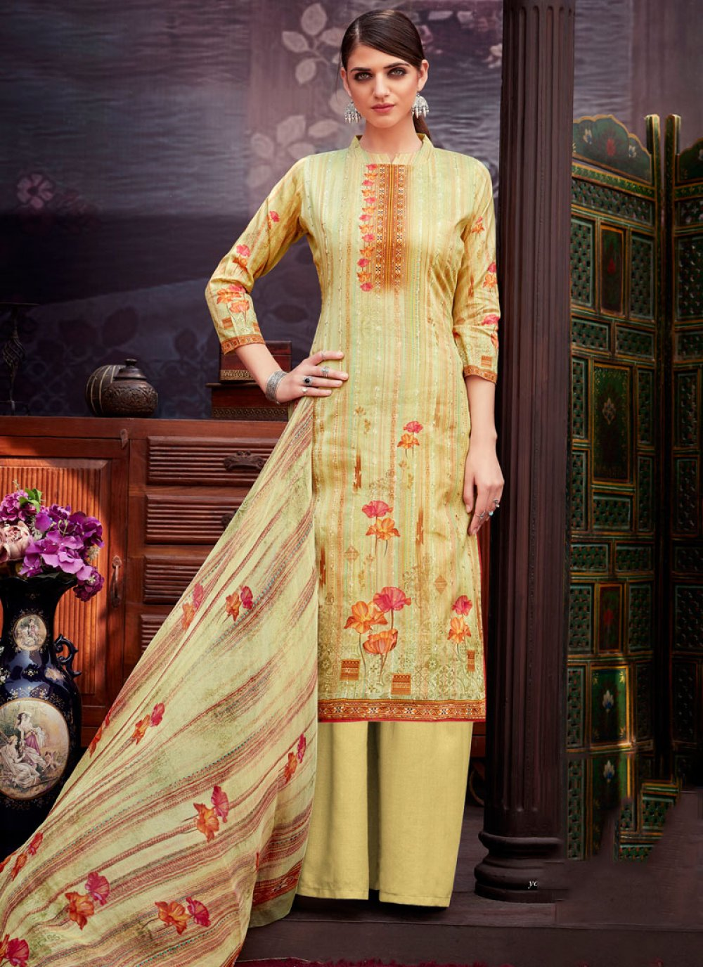 Digital Print Cotton Yellow Palazzo Suit