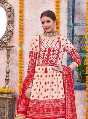 Digital Print Cream and Red Designer Palazzo Salwar Kameez