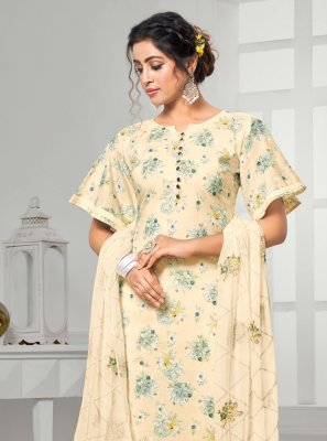 Digital Print Cream Cotton Designer Palazzo Salwar Suit
