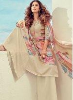 Digital Print Cream Cotton Trendy Suit