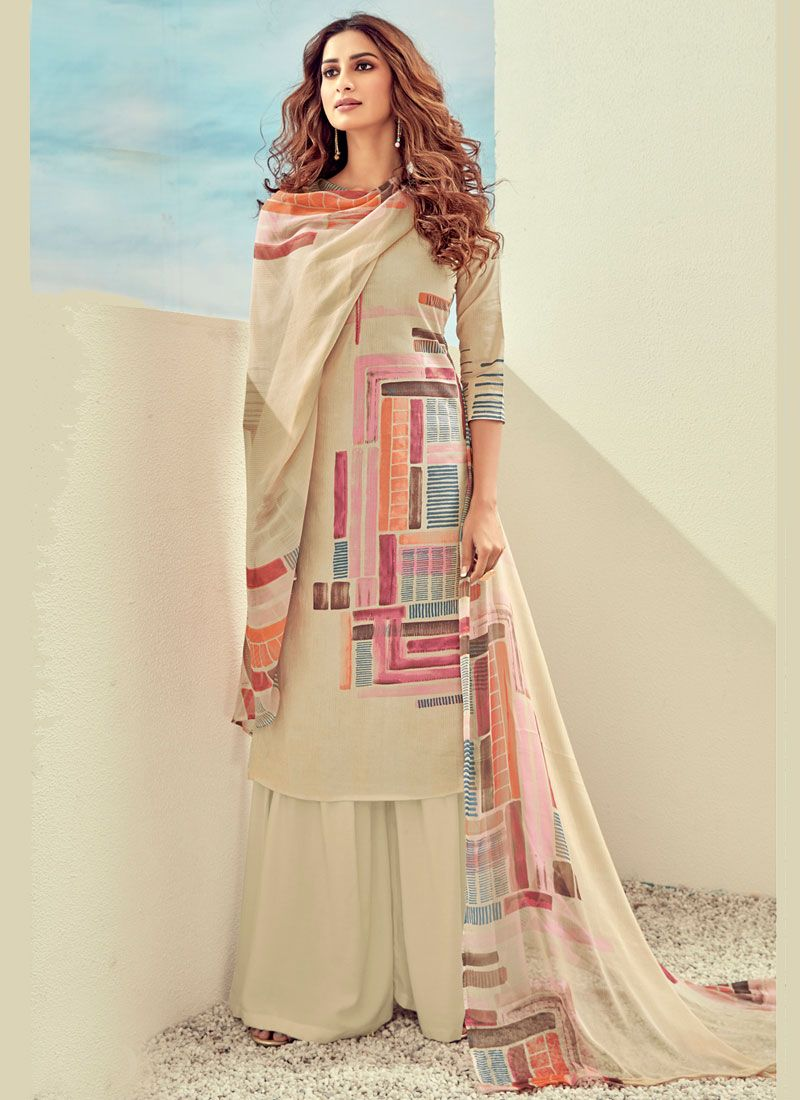 Digital Print Cream Cotton Trendy Suit
