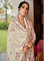 Digital Print Cream Pashmina Salwar Kameez